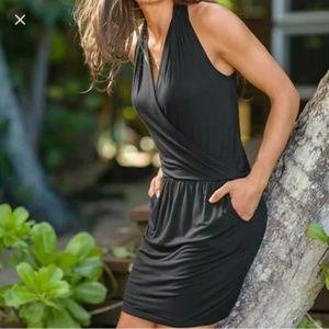 Athleta Black Crosstown Dress Wrap Pockets Sz Lrg.